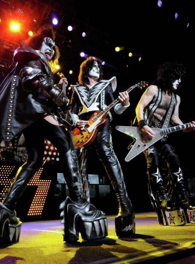 Gene Simmons sticks out his tongue in his classic fashion as Kiss performs at SPAC in Saratoga Springs, New York 8/17/2010. ( Michael P. Farrell / Times Union ) Photo: Michael P. Farrell / 00009884A