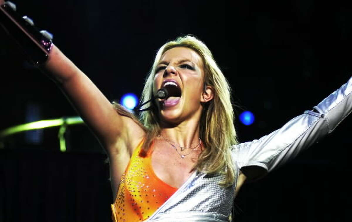 Britney Spears performs in concert at SPAC on Aug. 30, 2000. (James Goolsby/Times Union Archive)