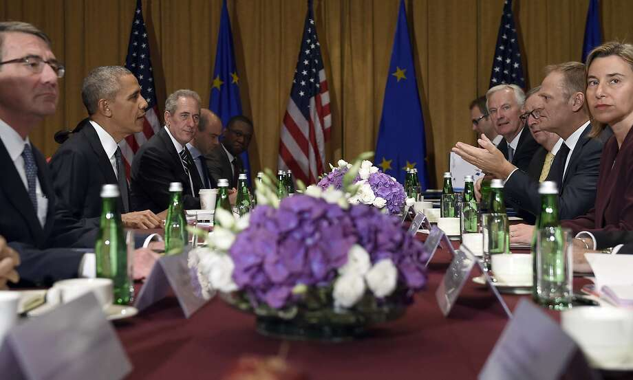Defense Secretary Ash Carter (left) and President Obama meet with European leaders at the summit. Photo: Susan Walsh, Associated Press