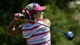Lexi Thompson watches her tee shot on the 7th hole during  the second round of the 2016 US Women's Open Championship at CordeValle in San Martin, California, on Fri. July 8, 2016.