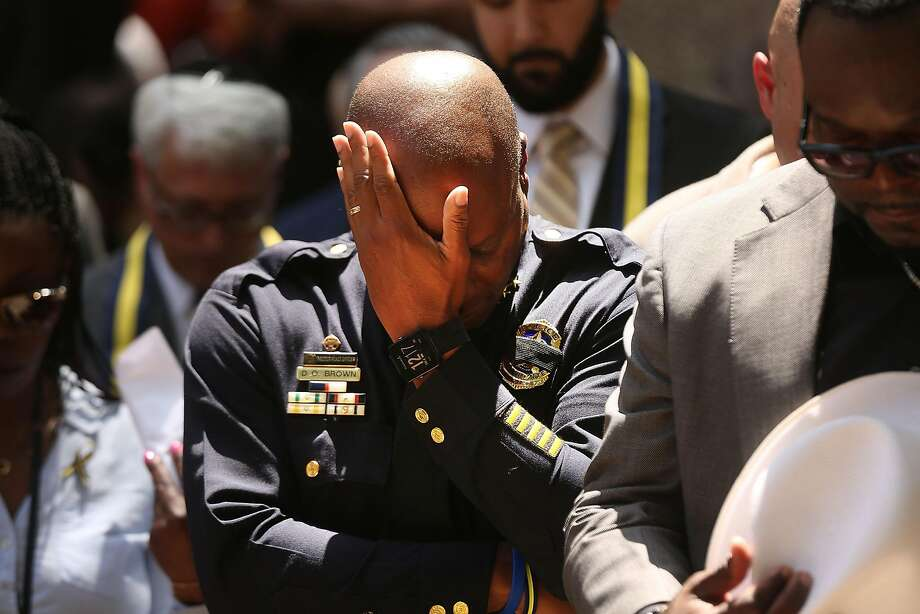 Dallas Police Chief David Brown pauses at a prayer vigil following the deaths of five police officers last night during a Black Live Matter march on July 8, 2016 in Dallas, Texas. Five police officers were killed and seven others were injured  in a coordinated ambush at a anti-police brutality demonstration in Dallas. Investigators are saying the suspect is 25-year-old Micah Xavier Johnson of Mesquite, Texas. This is the deadliest incident for U.S. law enforcement since September 11. Photo: Spencer Platt, Getty Images