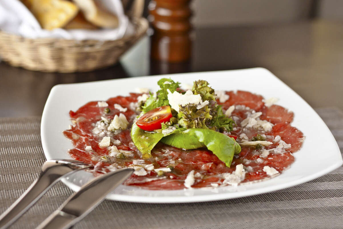 Carpaccio - Thinly sliced raw meat or fish usually served as an appetizer
