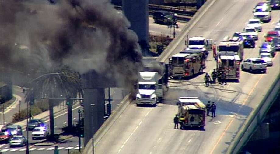 A KTVU camera captured this image of the fire response on the I-880 to eastbound I-80 exchange.  Photo: KTVU