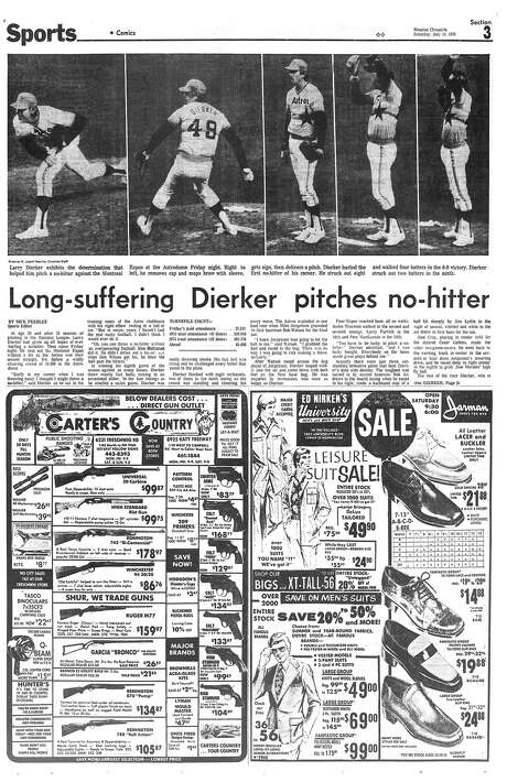 The sports page from the Houston Chronicle on July 10, 1976 after Larry Dierker threw a no-hitter for the Astros against Montreal.