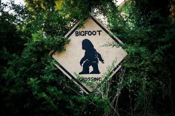 A bigfoot crossing sign in Willow Creek, California, June 30, 2016.