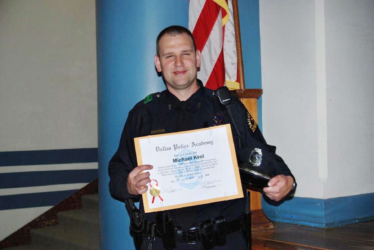 Dallas Officer Michael Krol was killed at the protest on Thursday. Heis shown here with his Dallas Police Academy graduation certificate on April 25, 2008.