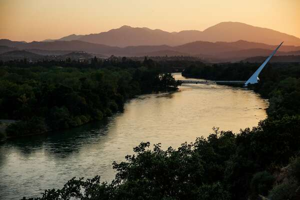 The Sundial Bridge at sunset in Redding, California, July 2, 2016.
