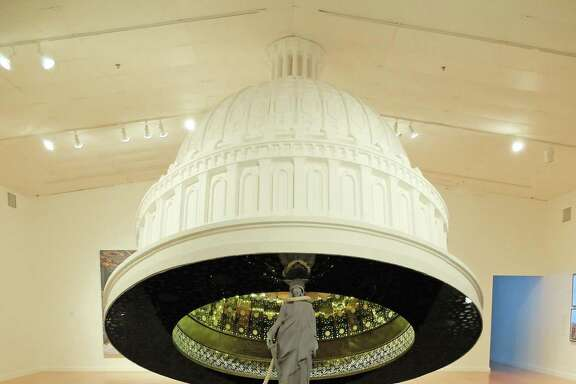 "Abdulnasser Gharem's ""The Capital Dome"" dominates the center of the exhibition ""Parallel Kingdom: Contemporary Art From Saudi Arabia,"" on view through Oct. 2 at the Station Museum of Contemporary Art."