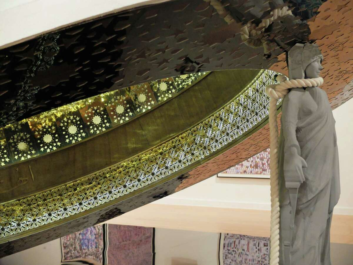"""Abdulnasser Gharem's """"The Capital Dome"""" dominates the center of the exhibition """"Parallel Kingdom: Contemporary Art from Saudi Arabia,"""" which is on view through Oct. 2 at the Station Museum of Contemporary Art."""