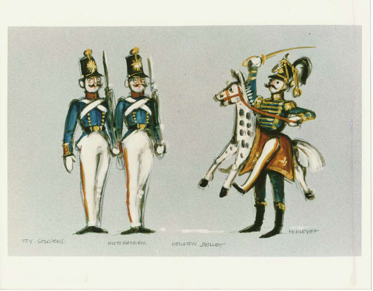 """Desmond Heeley's original sketch for the Toy Soldiers costumes for Ben Stevenson's production of """"The Nutcracker"""" for Houston Ballet, which premiered in 1987."""
