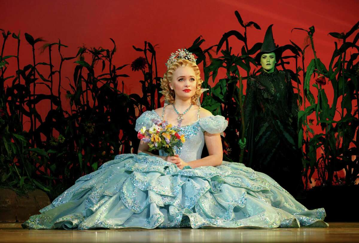 Amanda Jane Cooper as Glinda and Emily Koch as Elphaba in the touring Broadway production of Wicked.