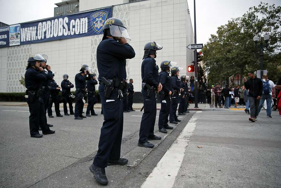 Oakland Police during protest against recent police shootings in Oakland on July 7. Photo: Scott Strazzante, The Chronicle