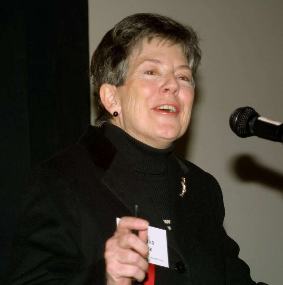 Martha Burk, Co-Founder and President of the Center for Advancement of Public Policy and Chair of the National Coucil of Women's Organizations, addresses the Women's Center 18th Annual Leadership Conference in Mclean, Va., Saturday March 8, 2003. (AP Photo/Adele Starr) Photo: ADELE STARR, AP