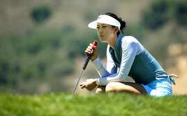 Michelle Wie looks over her birdie putt on the par-3 16th hole, which she made during the second round of the 2016 US Women's Open Championship at CordeValle in San Martin, California, on Fri. July 8, 2016.
