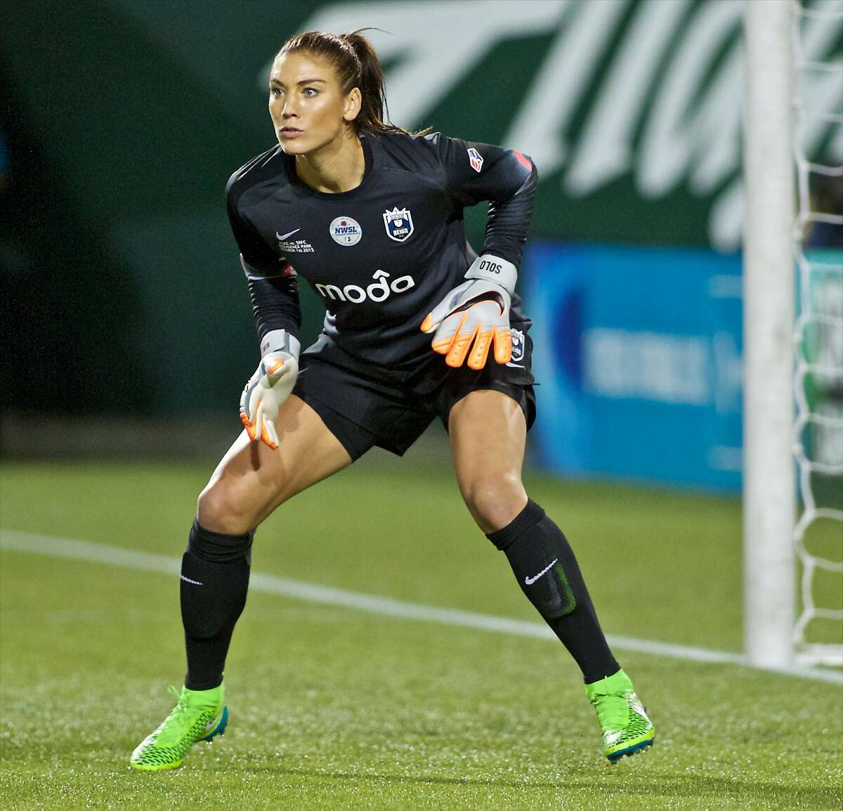 FILE - In this Oct. 1, 2015, file photo, Seattle Reign FC goalkeeper Hope Solo follows the action during the second half of the NWSL soccer championship match in Portland, Ore. New President Gianni Infantino has appointed a woman, Senegalese United Nations official Fatma Samoura as secretary general, and additionally announced the creation of a women�s soccer division at the recent FIFA Congress in Mexico City. �It's a great step forward, but it's been decades of a certain mindset,� U.S. goalkeeper Hope Solo said. (AP Photo/Craig Mitchelldyer, File)