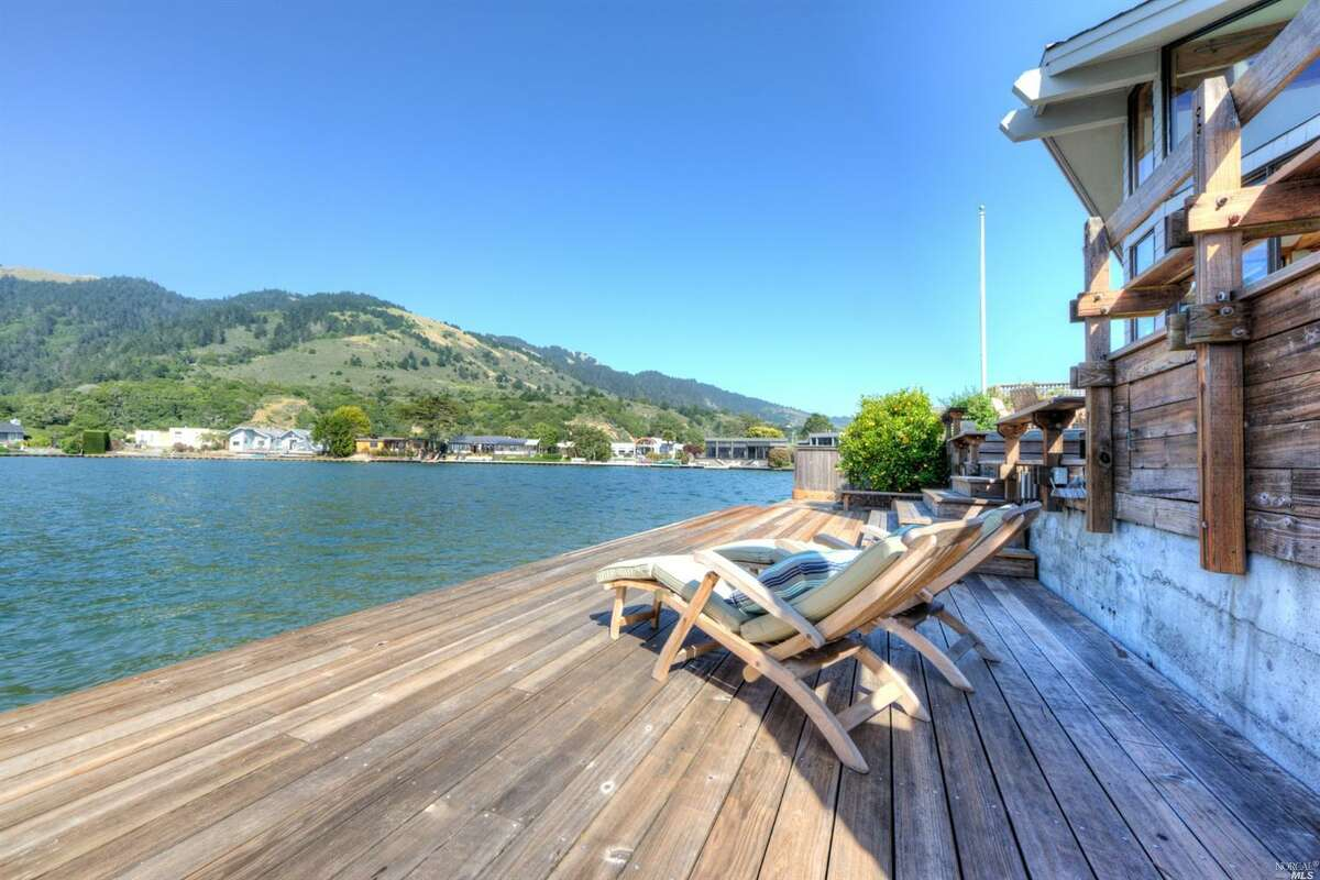 The deck of this two-bedroom Stinson Beach home at 121 Seadrift Rd. sits right on Bolinas Lagoon. It's on the market for $2.9 million.
