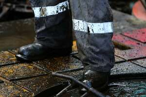A floor hand works on Abraxas Petroleum's Bullseye 101H well Monday June 27, 2016 in Atascosa County near Jourdanton, Texas. The Eagle Ford pumps 1.2 million barrels of oil per day, and last week 70 drilling rigs were at work in the region, according to the service firm Baker Hughes.