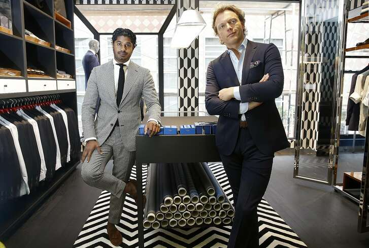Vice president Nish De Gruiter (left) and CEO Fokke de Jong (right) at Suit Supply which opens on Maiden Lane near Union square on Thursday, July 7, 2016, in San Francisco, Calif.