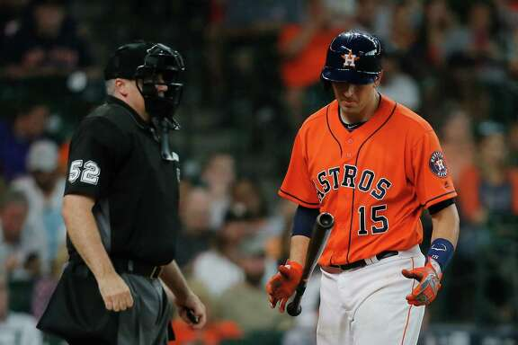 HOUSTON, TX - JULY 08: Jason Castro #15 of the Houston Astros strikes out in the third inning against the Oakland Athletics at Minute Maid Park on July 8, 2016 in Houston, Texas.