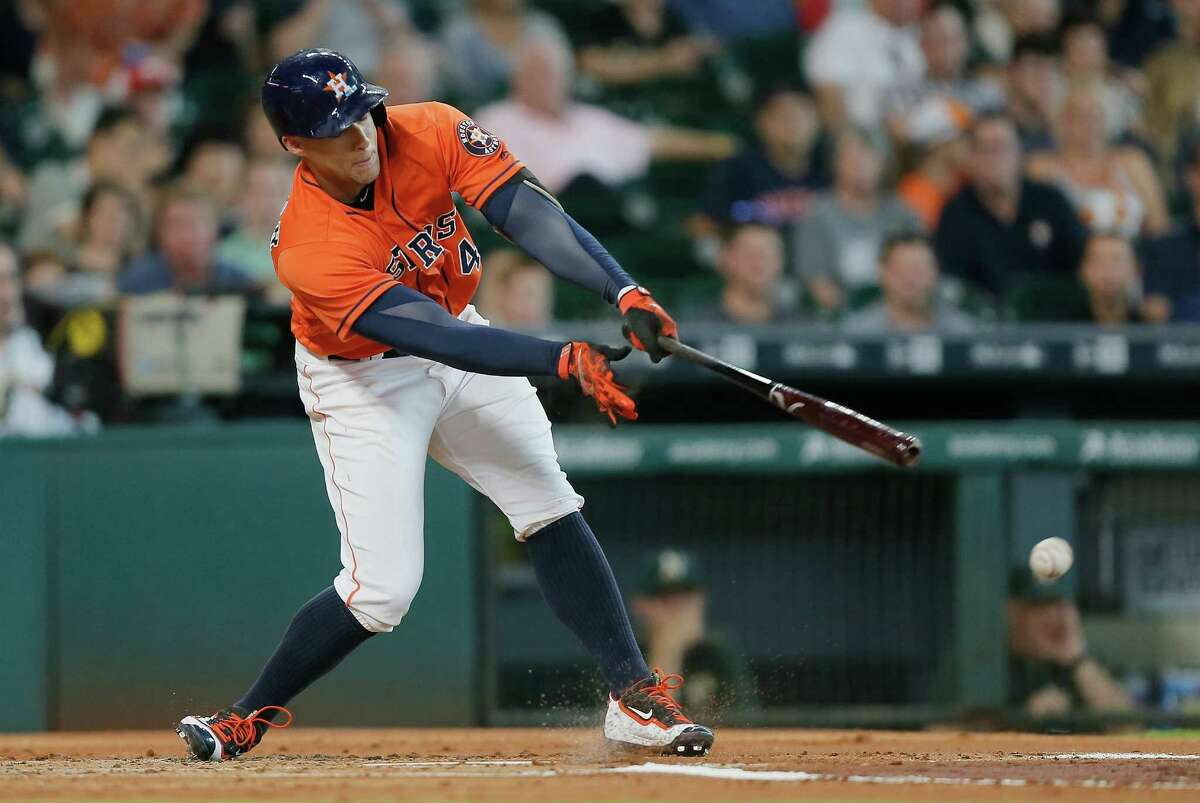HOUSTON, TX - JULY 08: George Springer #4 of the Houston Astros grounds out in the first inning against the Oakland Athletics at Minute Maid Park on July 8, 2016 in Houston, Texas. (Photo by Bob Levey/Getty Images)