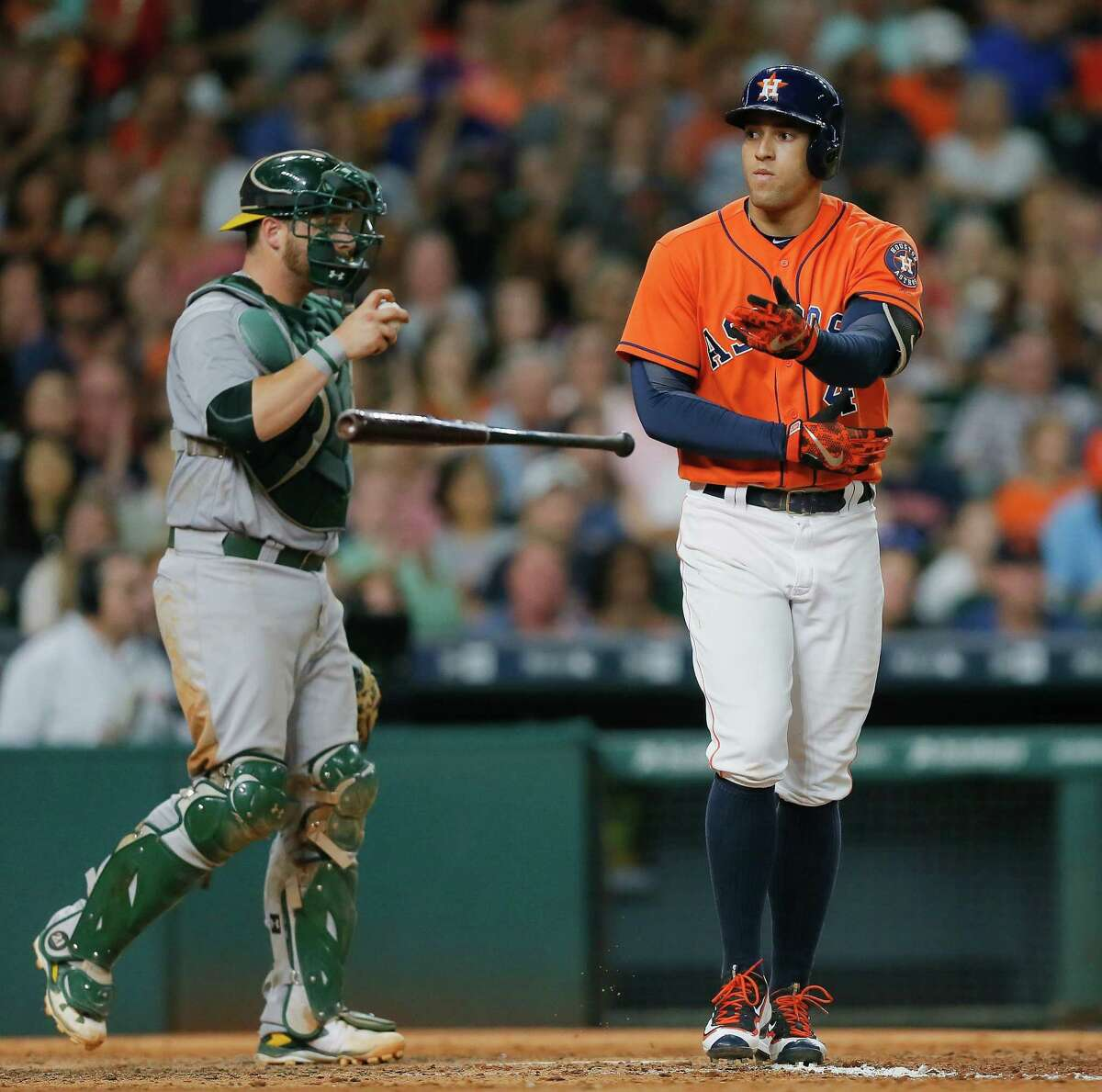 HOUSTON, TX - JULY 08: George Springer #4 of the Houston Astros walks in the fifth inning against the Oakland Athletics at Minute Maid Park on July 8, 2016 in Houston, Texas.