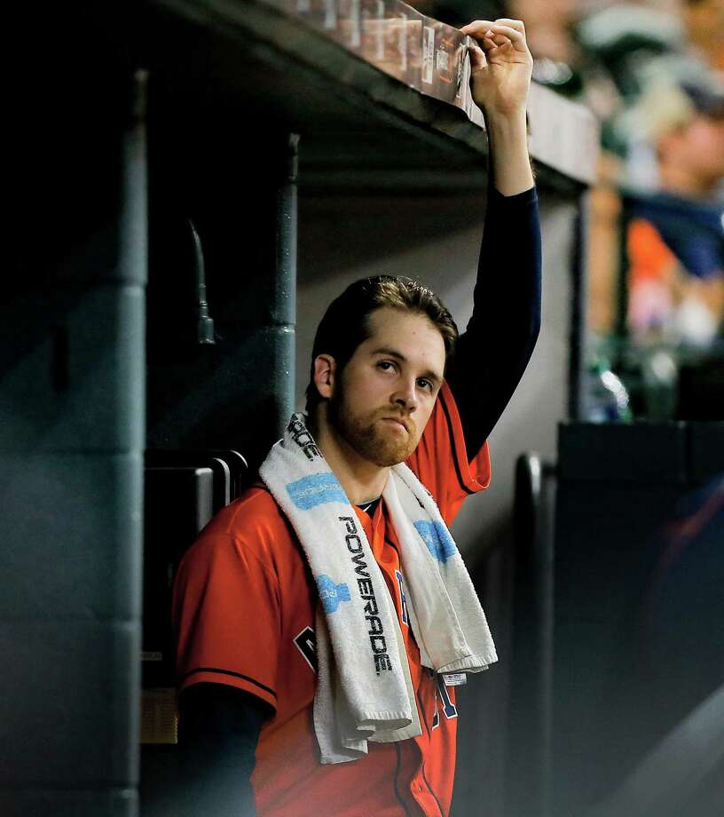 HOUSTON, TX - JULY 08: Collin McHugh #31 of the Houston Astros looks on from the dugout after he was removed in the seventh inning against the Oakland Athletics at Minute Maid Park on July 8, 2016 in Houston, Texas. Photo: Bob Levey, Getty Images / 2016 Getty Images