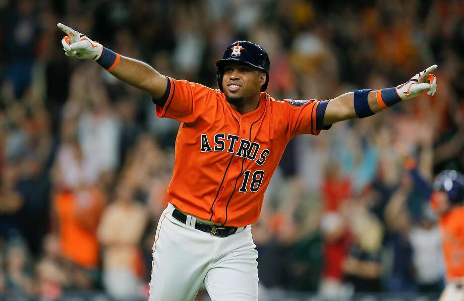 HOUSTON, TX - JULY 08:  Luis Valbuena #18 of the Houston Astros hits a three run walkoff home run in the ninth inning to defeat the Oakland Athletics 10-9 at Minute Maid Park on July 8, 2016 in Houston, Texas.  (Photo by Bob Levey/Getty Images) Photo: Bob Levey, Getty Images