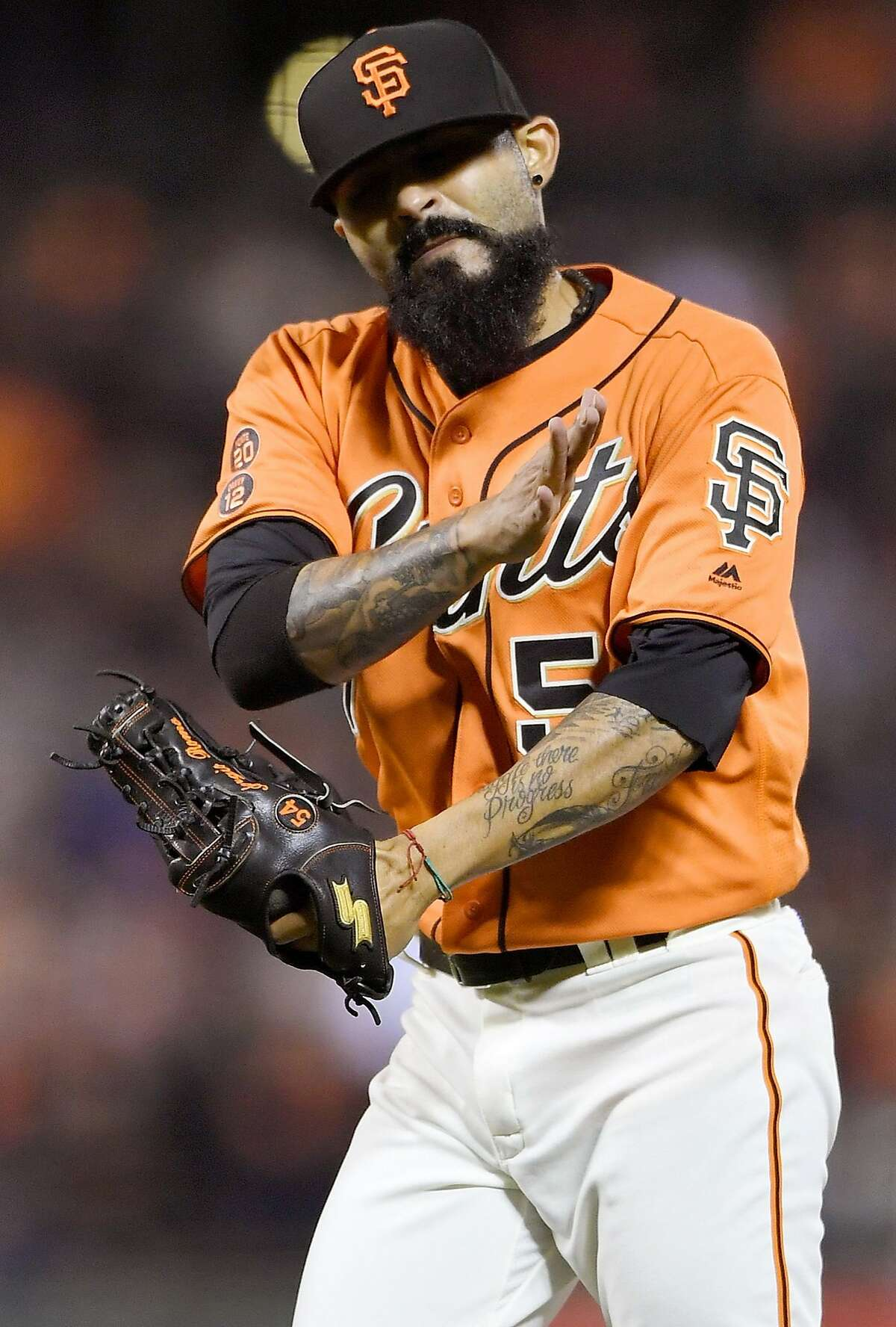 Sergio Romo #54 of the San Francisco Giants reacts after striking out Chris Herrmann #10 of the Arizona Diamondbacks for the third out of the top of the eighth inning at AT&T Park on July 8, 2016 in San Francisco. The Giants won the game 6-2.