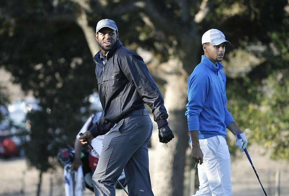 Warriors' Andre Iguodala and Stephen Curry share the 3rd tee during the Fry's.com Pro-Am a day before the start of the tournament in Napa on Wed. October 14, 2015. Photo: Michael Macor, The Chronicle