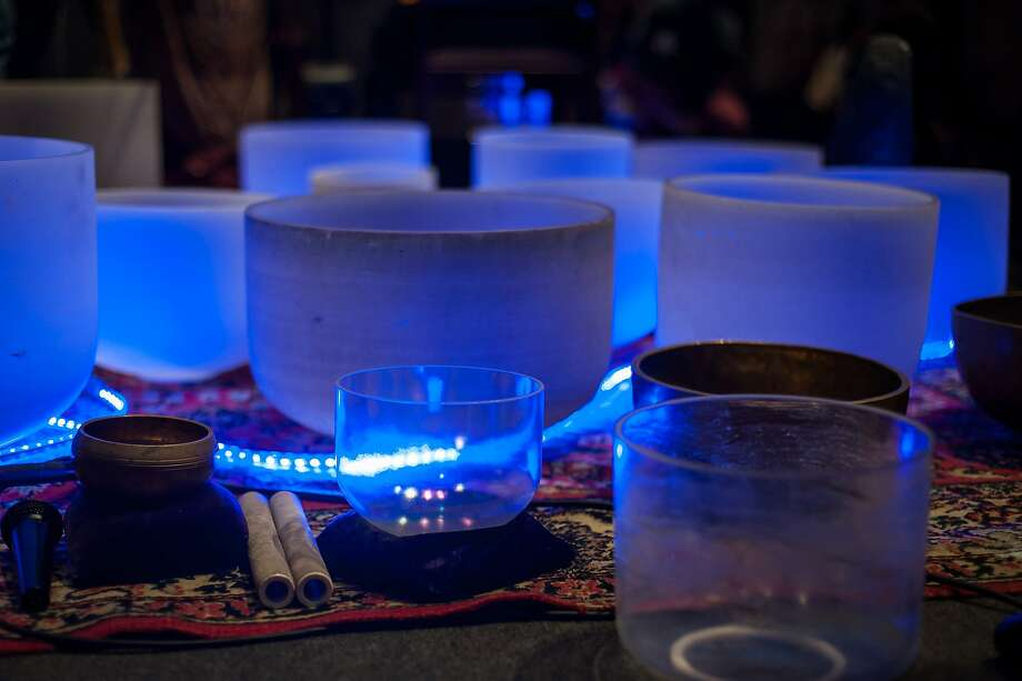 """The crystal bowls, Tibetan singing bowls, and planetary gongs used at events such as the recent """"sound bath"""" at Grace Cathedral. Photo: Kara Cooper, Kara Cooper Photography."""