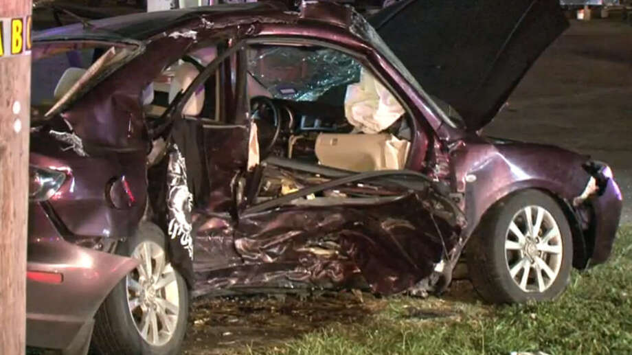 A traffic crash in northwest Harris County late Friday sent six injured people to local hospitals, including one by Life Flight. None of the injuries are life threatening, police said. Photo: Metro Video