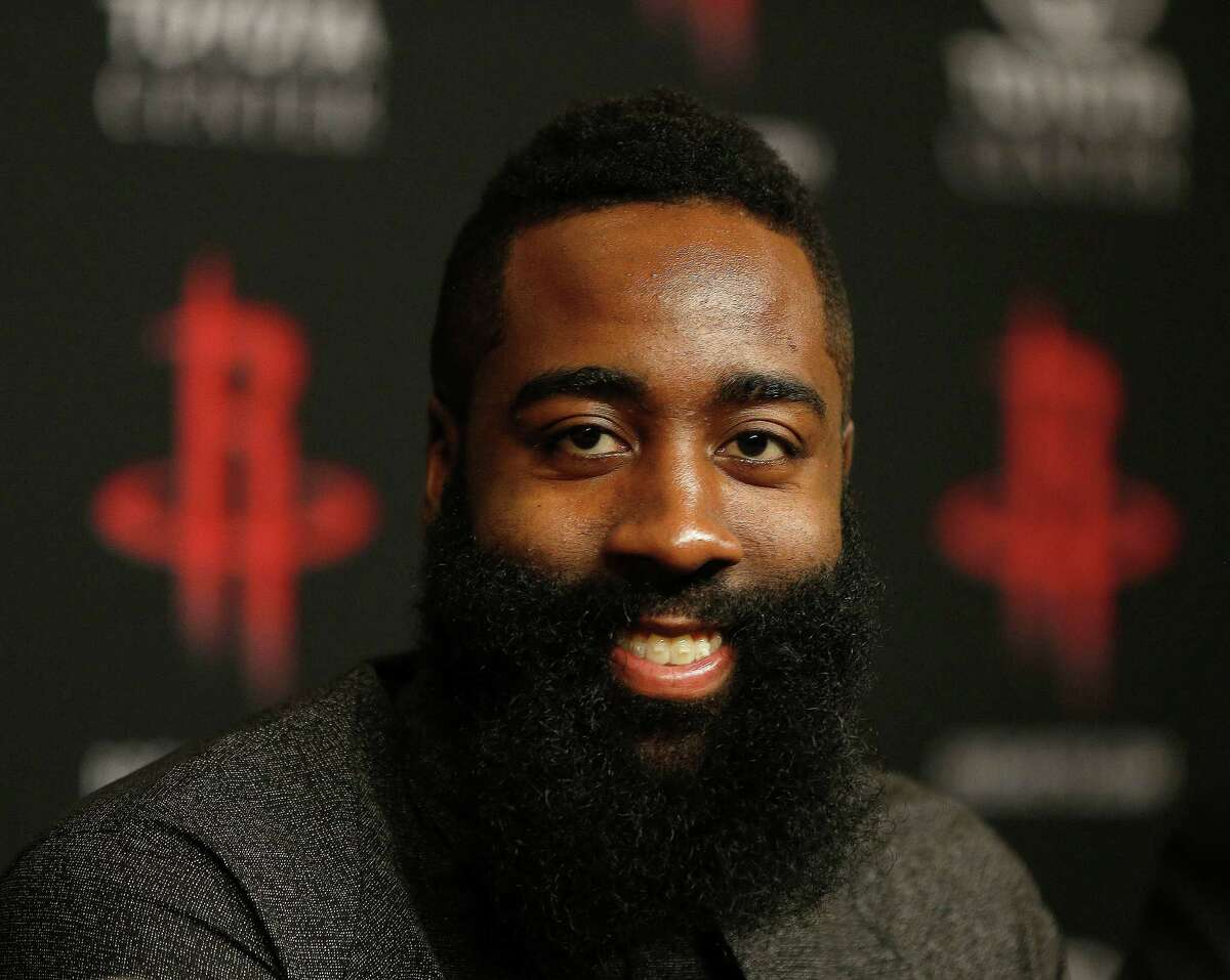James Harden speaks during a press conference at the Houston Rockets, Saturday, July 9, 2016, in Houston, after he agreed to a four-year, $118 million renegotiation that could keep him under contract through 2020, after the Rockets introduced free-agent signees Ryan Anderson and Eric Gordon.