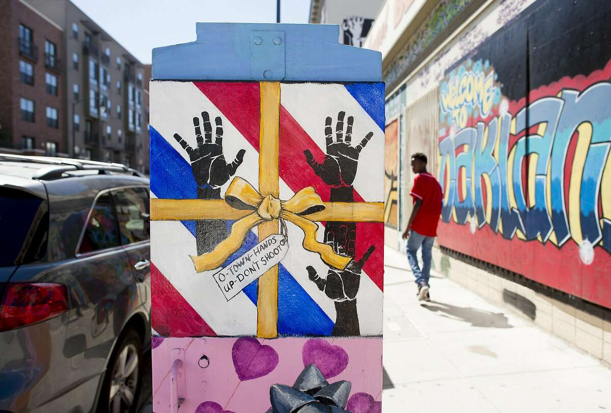 A painted utility box bearing a message popularized during Black Lives Matter protests in Oakland, Calif., June 21, 2016. A cascade of controversies has left Oakland without a police chief at a time when crime rates are down and once-dilapidated neighborhoods are reviving. (Noah Berger/The New York Times)