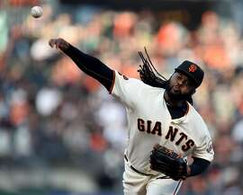 The San Francisco Giants' Johnny Cueto pitches against the Colorado Rockies in the first inning on Wednesday, July 6, 2016, at AT&T Park in San Francisco. (Susan Tripp Pollard/Bay Area News Group/TNS)