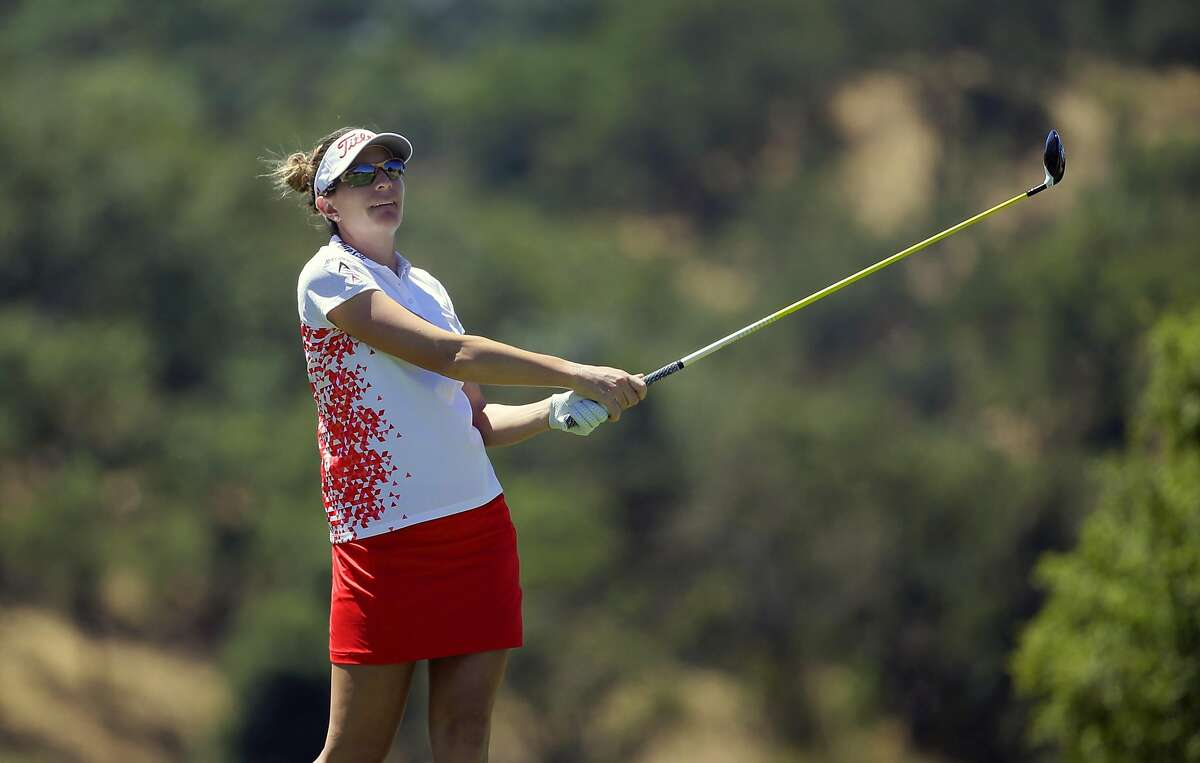Brittany Lang tees off on the 18th hole and went on to finish at 5-under-par for the tournament during the third round of the 2016 U.S. Women's Open Championship at CordeValle in San Martin, California, on Sat. July 9, 2016.
