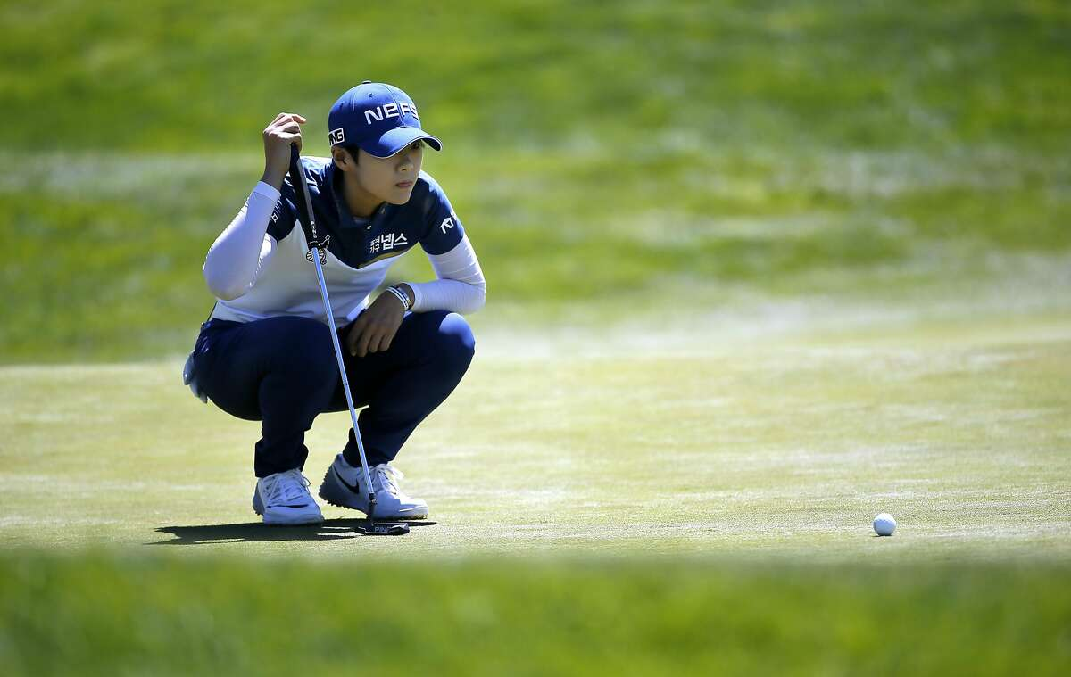 Sung Hyun Park looks over her birdie putt on the 15th hole during the third round of the 2016 U.S. Women's Open Championship at CordeValle in San Martin, California, on Sat. July 9, 2016.