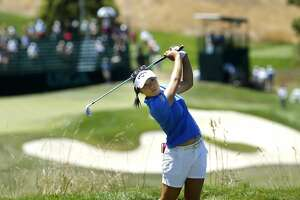 Lydia Ko tees off on the par-3 16th hole during the third round of the 2016 U.S. Women's Open Championship at CordeValle in San Martin, California, on Sat. July 9, 2016.
