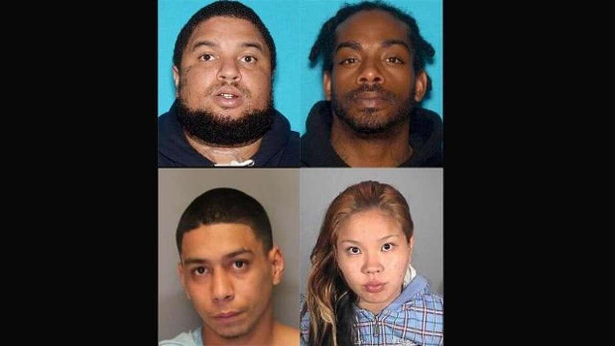 Emmanuel Espinoza, 26, of Stockton (top left corner), Jaylon Brown, 32, of Sacramento (top right corner), Larry Young, 23, of Sacramento (bottom left corner) and Lovely Rauzol, 27, of Vallejo (bottom right corner) were arrested by police this week.