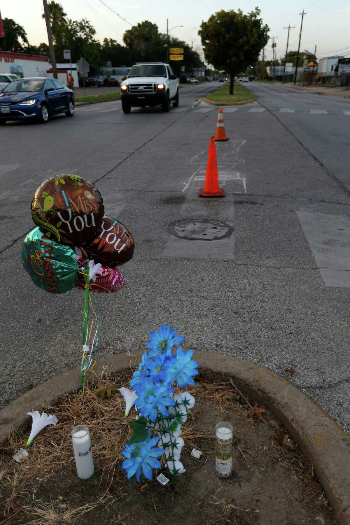 A small memorial for Alva Braziel, who was shot and killed near his home on Houston's south side, greets passers-by at the corner of Cullen and Ward Streets.