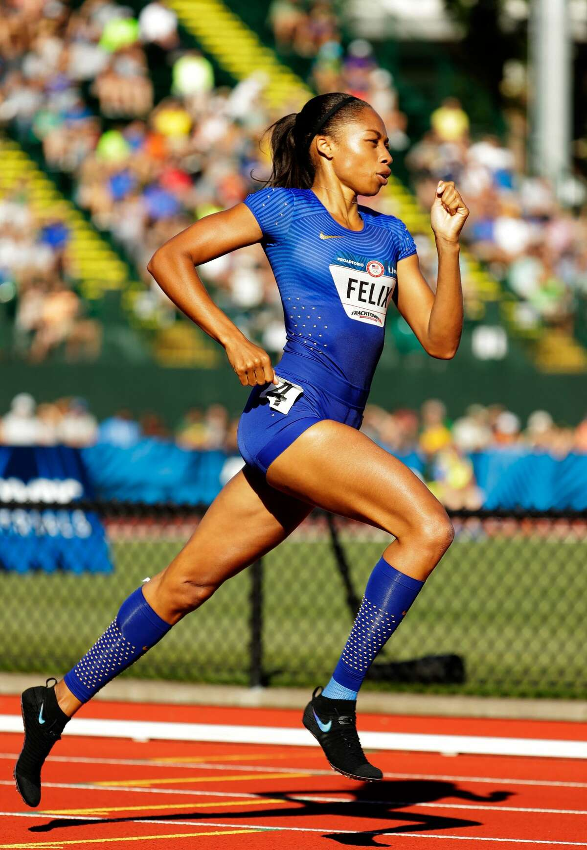 Allyson Felix runs in the first round of the Women's 400 Meters during the 2016 U.S. Olympic Track & Field Team Trials at Hayward Field on July 1, 2016 in Eugene, Oregon. (Photo by Andy Lyons/Getty Images)