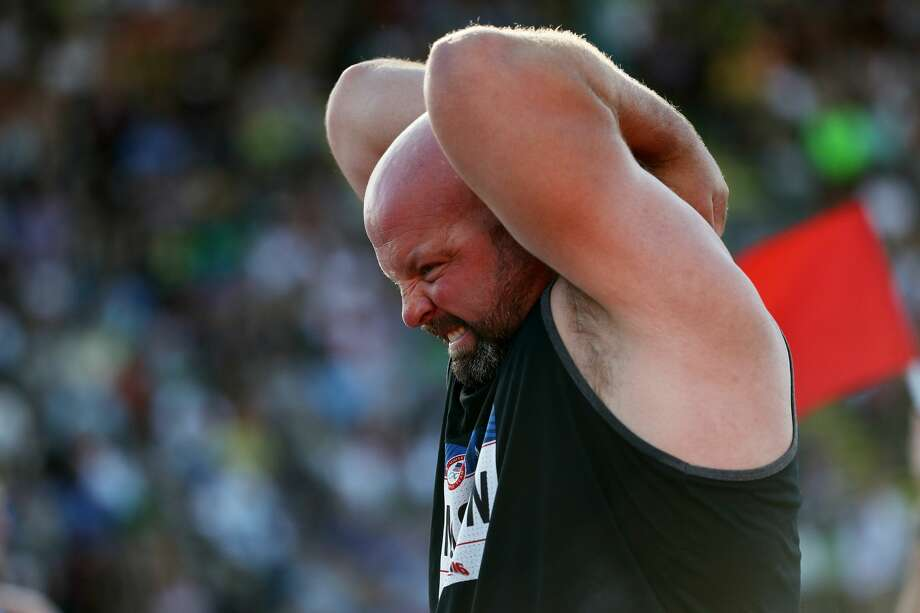 Adam Nelson participates in the Men's Shot Put Final during the 2016 U.S. Olympic Track & Field Team Trials at Hayward Field on July 1, 2016 in Eugene, Oregon.  (Photo by Patrick Smith/Getty Images) Photo: Patrick Smith/Getty Images