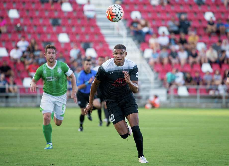Taylor Morgan of S.A. FC gives chase to the ball during the first half of a USL soccer match between OKC Energy FC and San Antonio FC on Saturday, July 9, 2016, at Toyota Field in San Antonio. Photo: Darren Abate /Darren Abate /USL / Darren Abate Media, LLC