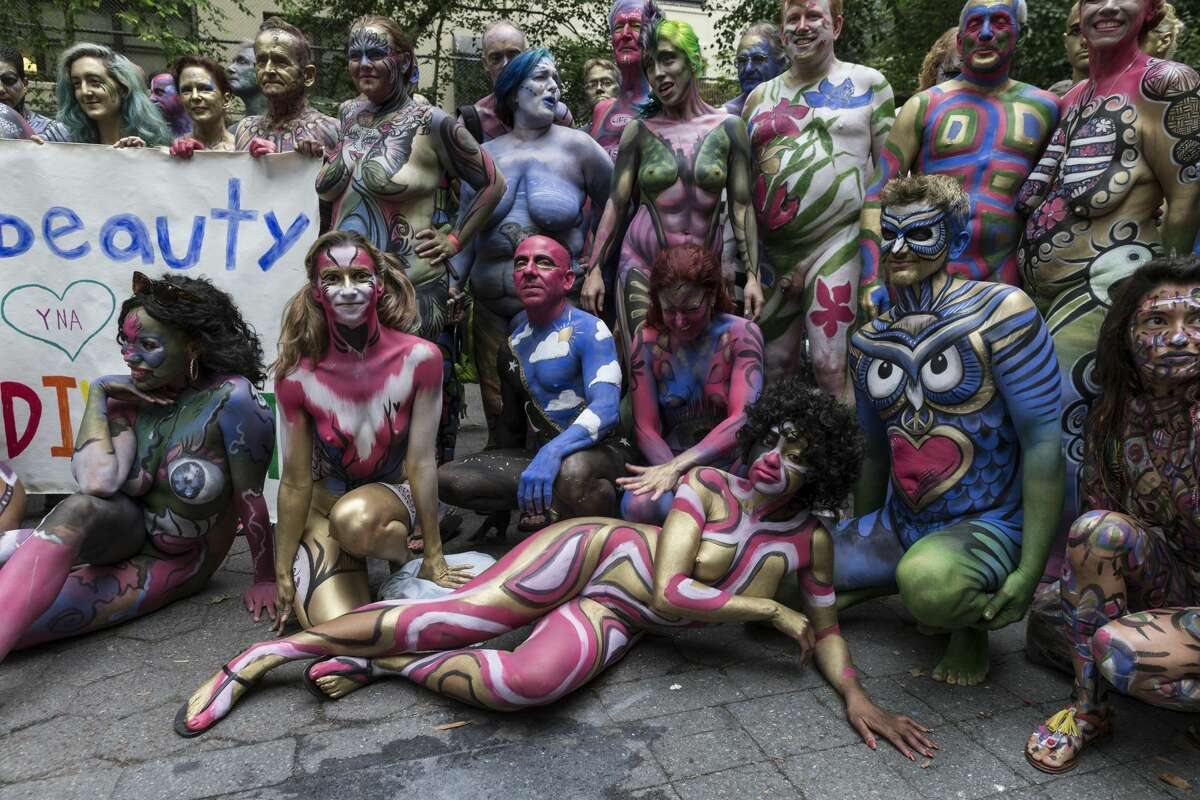 Atmosphere during Bodypainting Day organized by artist Andy Golub in New York City on July 9, 2016.