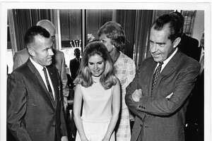9/6/1968 - Astronaut L. Gordon Cooper and the Nixon family during a tour of the Manned Spacecraft Center (later known as Johnson Space Center).  (l-r, front row): L. Gordon Cooper, Tricia Nixon, and candidate Richard Nixon. (l-r) MSC Director Dr. Robert Gilruth (behind Cooper) and Pat Nixon (seen partially behind Tricia).