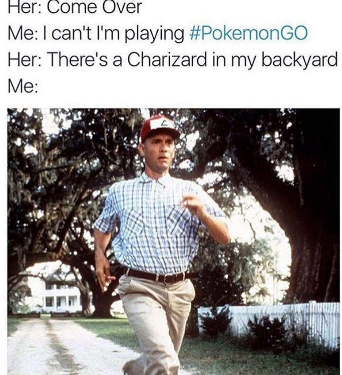 Pokémon Go, an augmented reality game, has people wandering their neighborhoods looking for Pokémon. Meme via HipHopDX