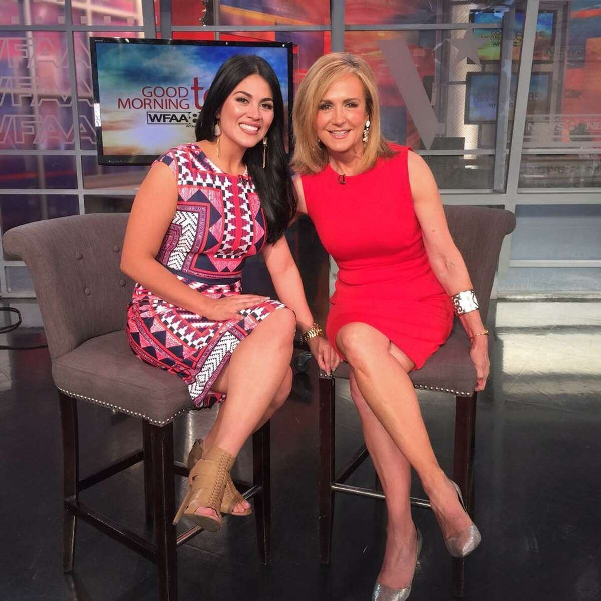 Alanna Sarabia, previously a staple of San Antonio's WOAI-TV, said she has developed a nice chemistry with her new air partner Jane McGarry (right), co-host on WFAA-TV's 'Good Morning Texas' in Dallas.