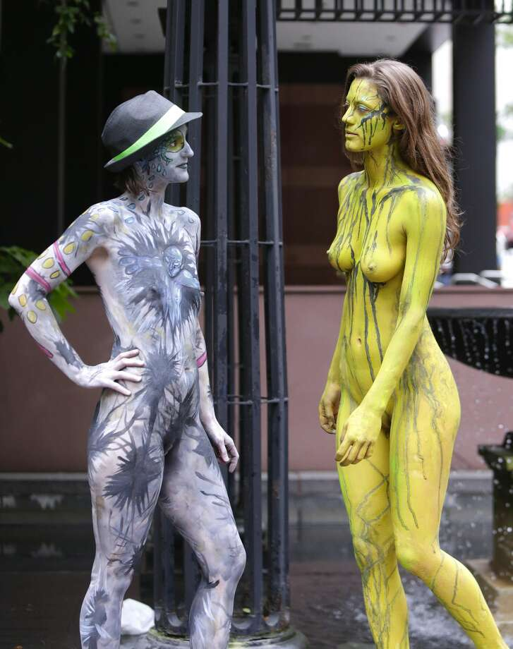 Noted body painting artist Andy Golub staged a body painting festival at Dag Hammarskjold Plaza with dozens of nude and near nude models standing by while paints were applied by an array of artists. Photo: Pacific Press/LightRocket Via Getty Images