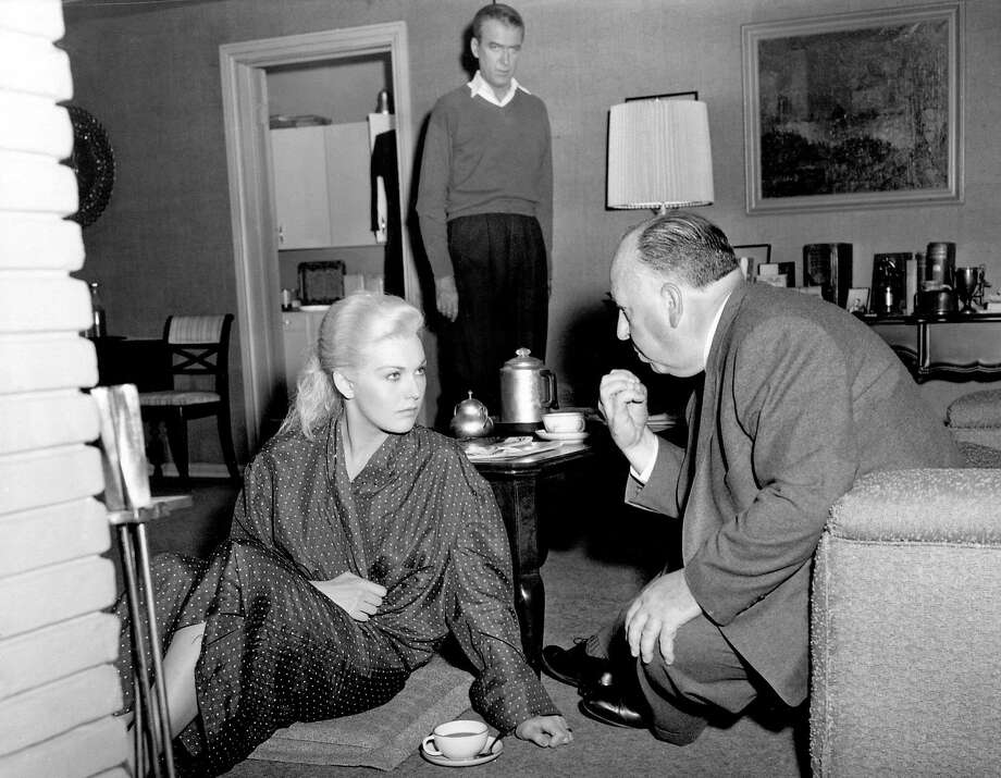 PHoto credit San Francisco Museum and Historical Society. Kim Novak getting direction from Alfred Hitchcock for Vertigo. James Stewart is in the background Photo: San Francisco Museum And Histori