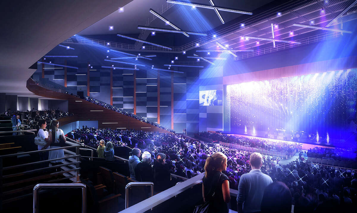 Conceptual art of the Smart Financial Centre in Sugar Land. Keep going to see more concerts that are coming to the Bayou City this year.