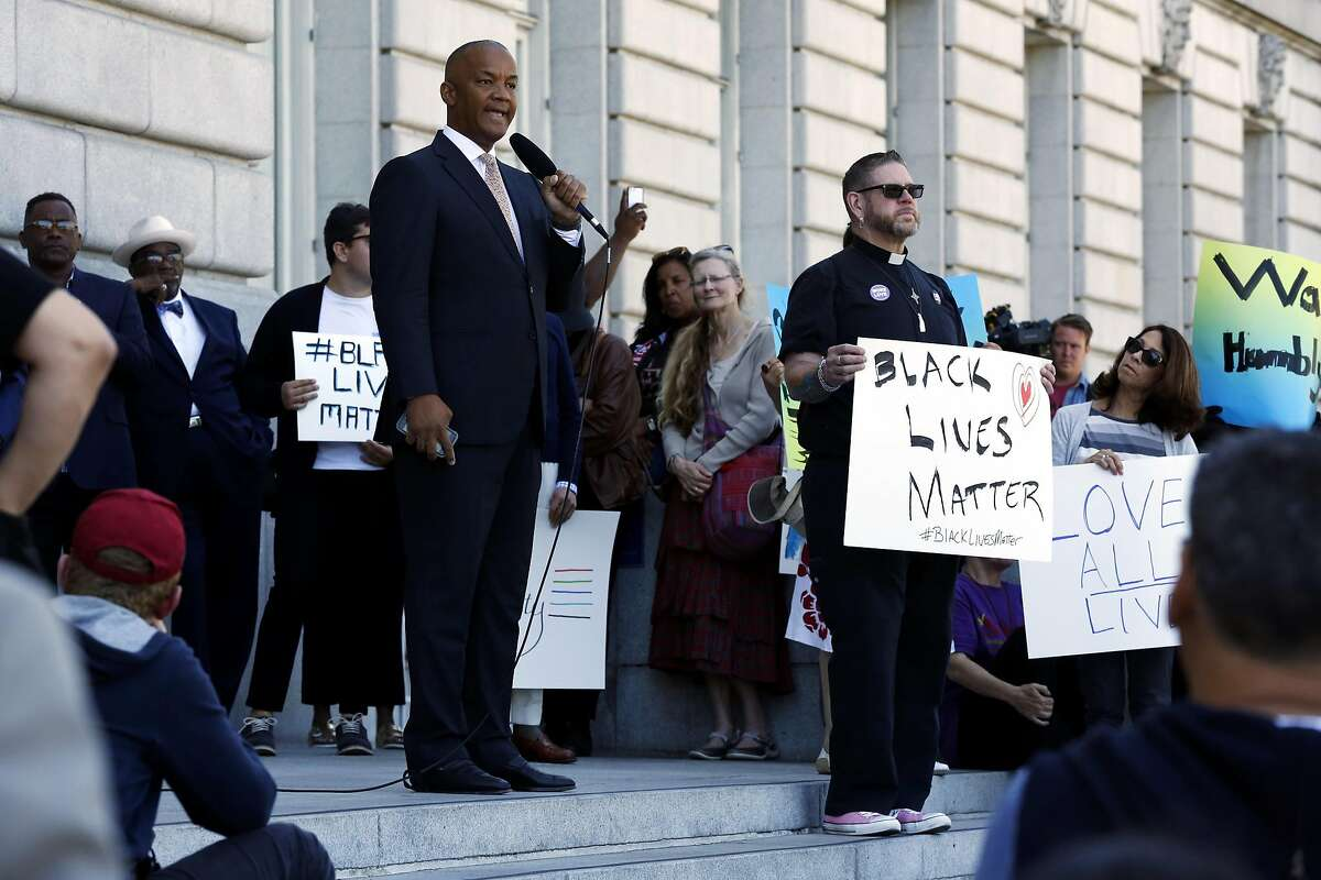 Bryan Parker speaks during a rally at City Hall in San Francisco, California, on Sunday, July 10, 2016. Persons of faith gathered in response to the recent killings of two black men by police officers.